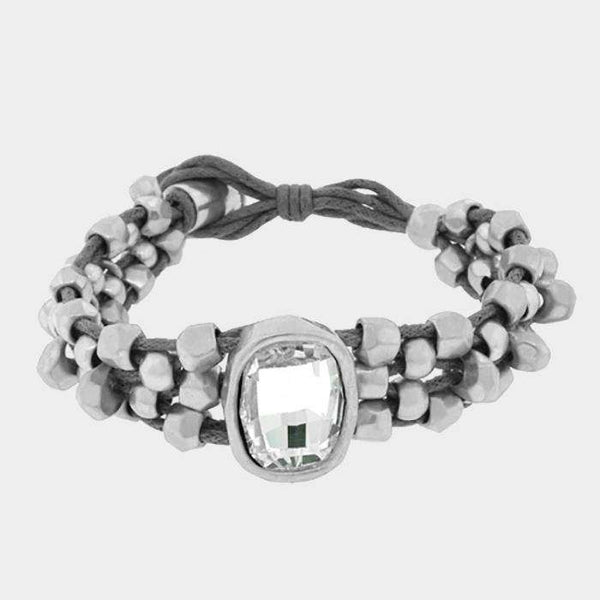 Crystal Accented Abstract Metal Bead Bracelet
