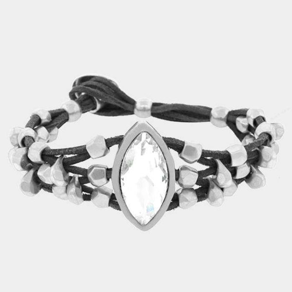 Crystal Accented Chunky Metal Bead Suede Bracelet
