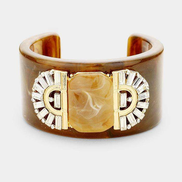 Crystal Embellished Celluloid Acetate Cuff Bracelet