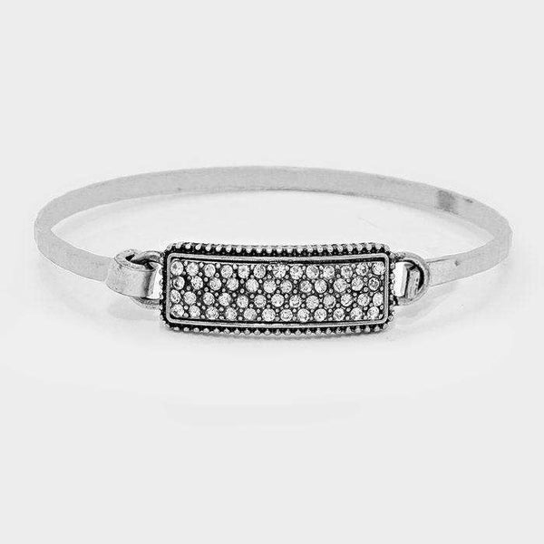 Crystal Pave Disc Metal Hook Bracelet