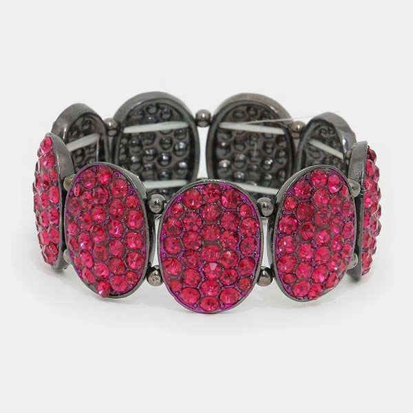 Crystal Pave Oval Metal Stretch Bracelet
