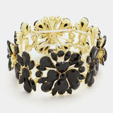 Crystal Rhinestone Flower Stretch Bracelet