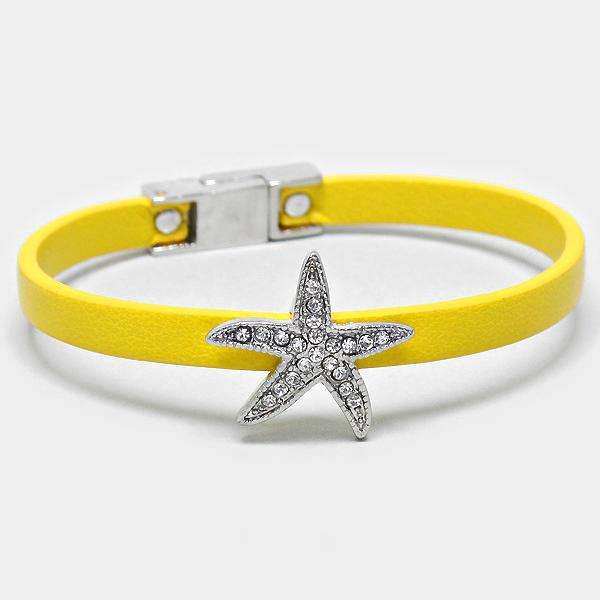 Crystal Starfish Accented Faux Leather Bracelet