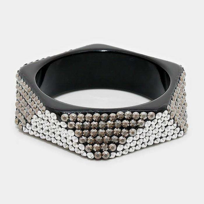 Crystal Studded Geometric Bangle Bracelet