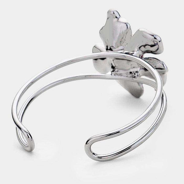 Crystal Teardrop Metal Flower Cuff Bracelet
