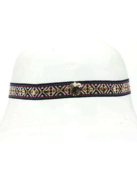 Cube Embroidery Pearl Crystal Stone Elastic Head Band