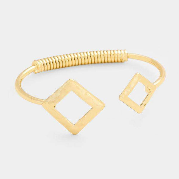 Cut Out Double Square Metal Cuff Bracelet