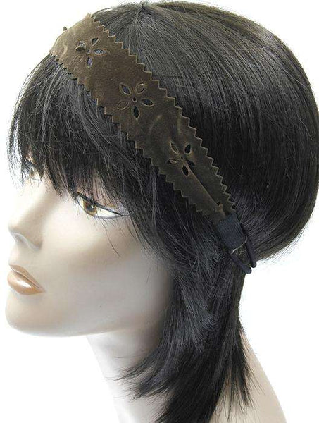Cut Out Floral Pattern  Faux Leather Stretch Head Band