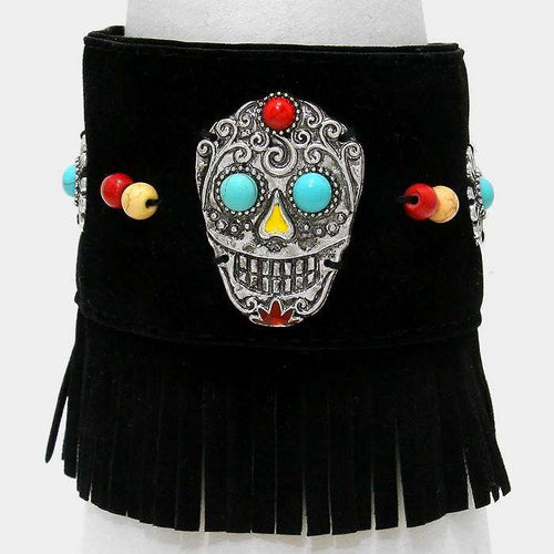 Day Of The Dead Mexican Sugar Skull Suede Fringe Bracelet