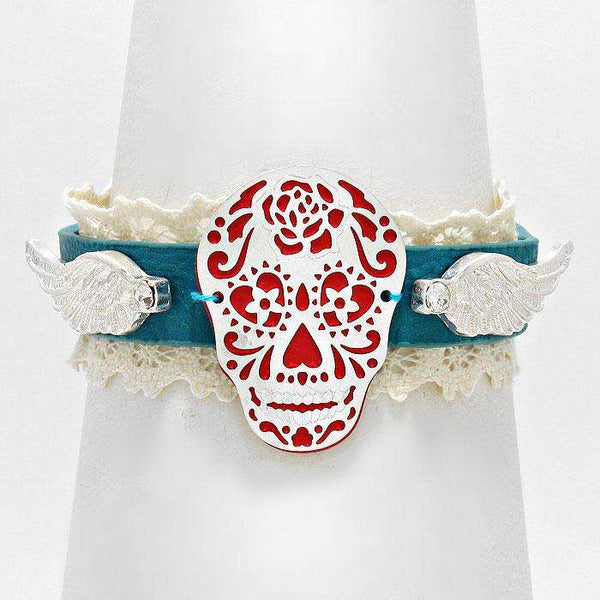 Day Of The Dead Skull & Wings Lace Leather Bracelet