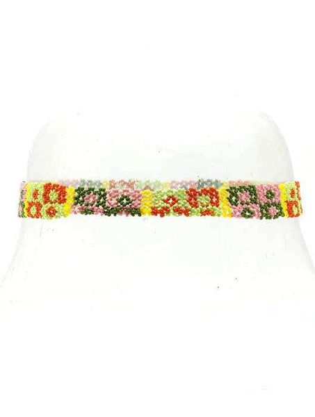 Diamond Square Print Beaded Elastic Head Band