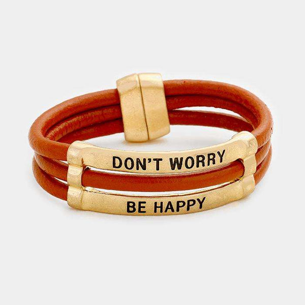 Don't Worry Be Happy Faux Leather Magnetic Bracelet