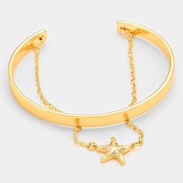 Double Layer Crystal Starfish Cuff Bracelet