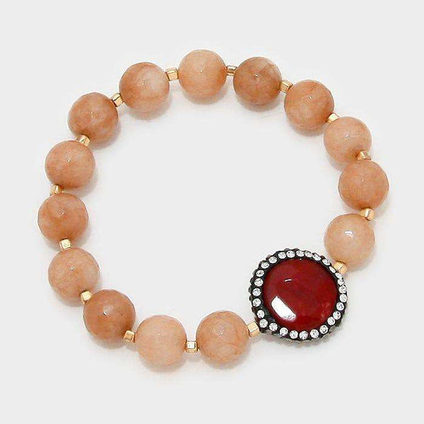Double Sided Crystal Trim Natural Stone Beaded Strand Stretch Bracelet