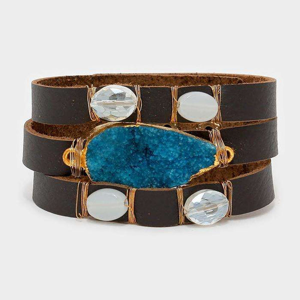 Druzy & Natural Stone Faux Leather Bracelet
