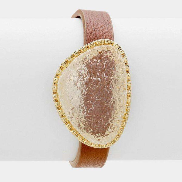 Druzy Accented Faux Leather Cinch Bracelet