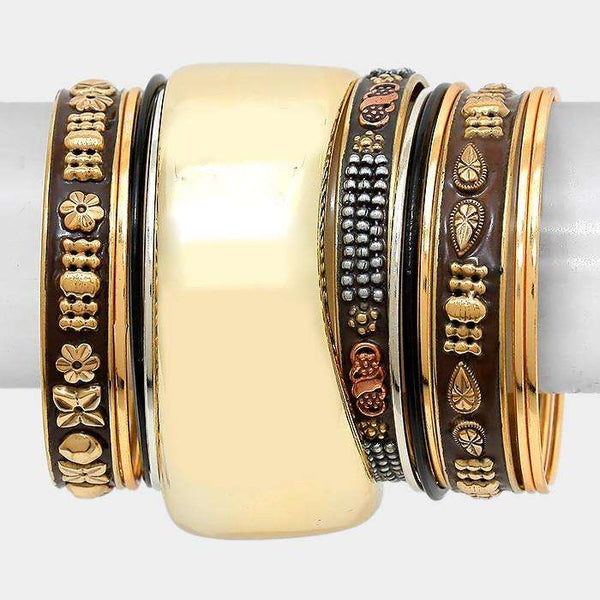 Embossed Enamel Metal Bangle Bracelet