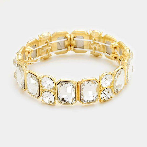 Emerald Cut Glass Crystal Stretch Bracelet