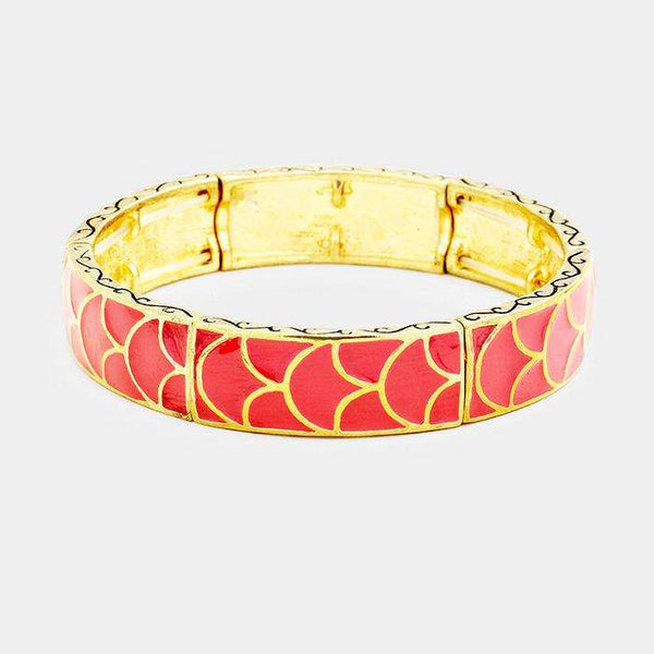 Enamel Abstract Pattern Stretch Bracelet