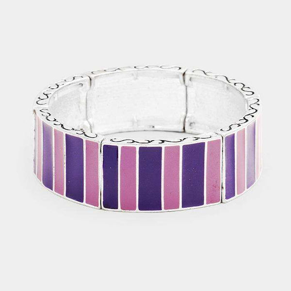 Enamel Rectangle Pattern Stretch Bracelet