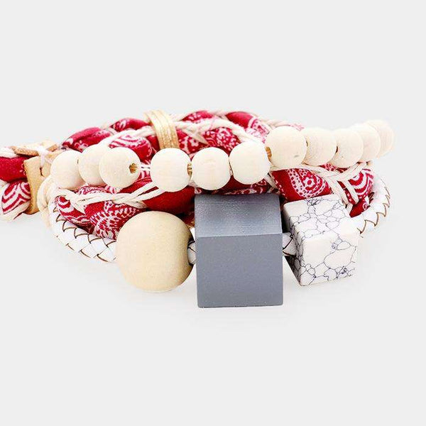 Fabric Braid Wood Cube Adjustable Bracelet