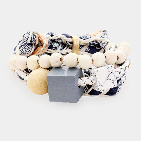 Fabric Braid Wood Howlite Cube Adjustable Bracelet