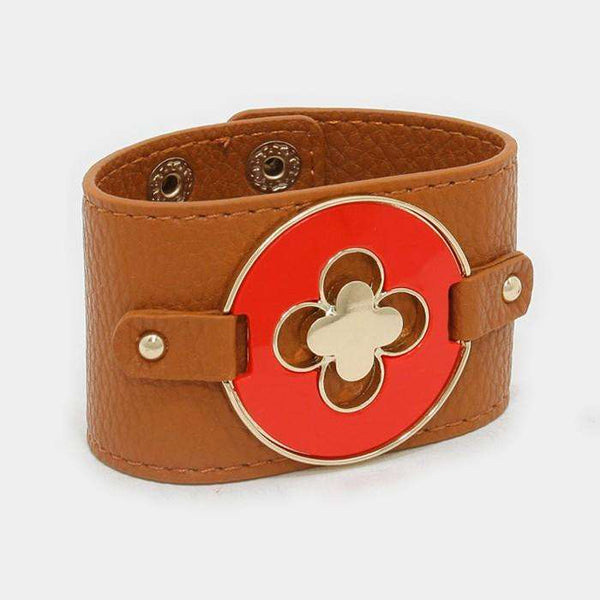 Faux Leather Quatrefoil Clover Bracelet