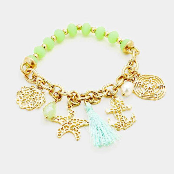 Filigree Sea Life Metal Charms Tassel Stretch Bracelet