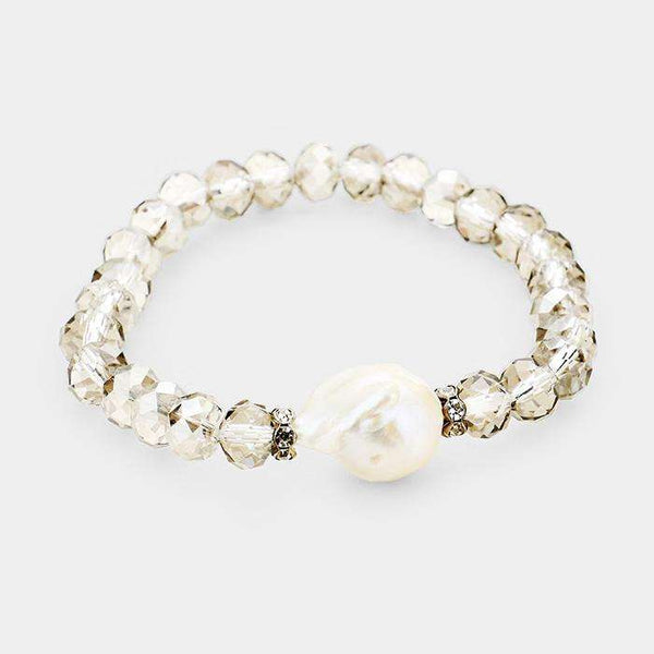 Freshwater Pearl Accented Beaded Stretch Bracelet