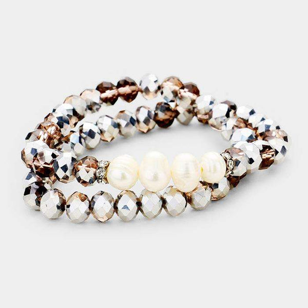 Freshwater Pearl Accented Beaded Wrap Stretch Bracelet