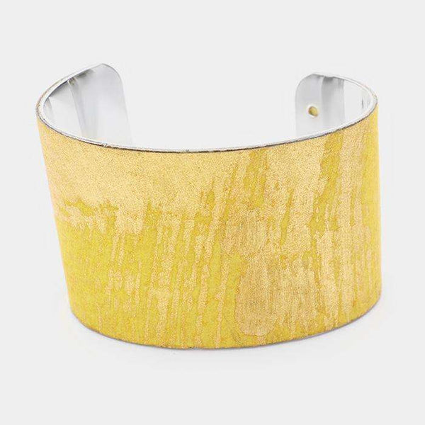 Genuine Leather Gold Painted Cuff Bracelet