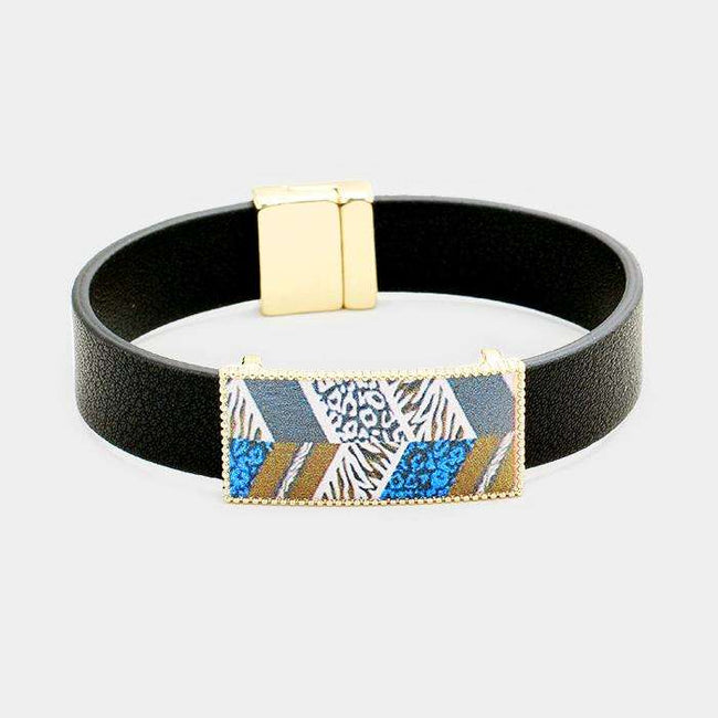 Geo Patterned Genuine Leather Magnetic Bracelet