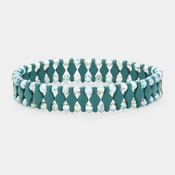 Geometric Lucite Beads Stretch Bracelet