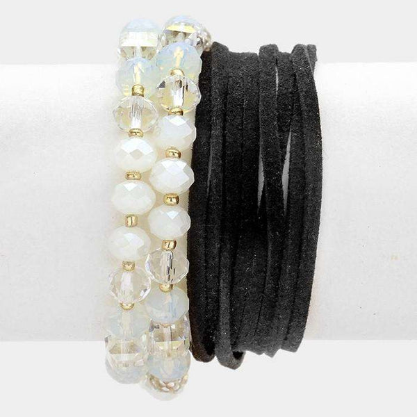 Glass Beads & Faux Suede Wrap Bracelet / Necklace