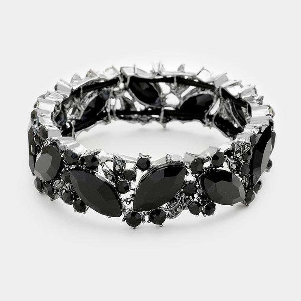 Glass Crystal Marquise Stretch Bracelet