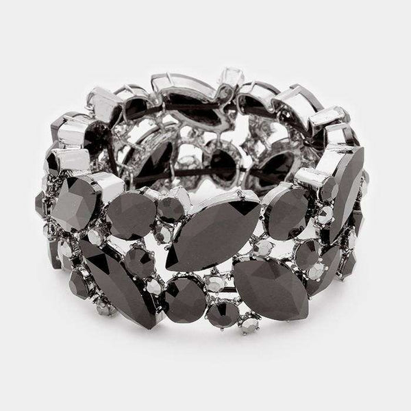 Glass Crystal Marquise Vine Stretch Bracelet