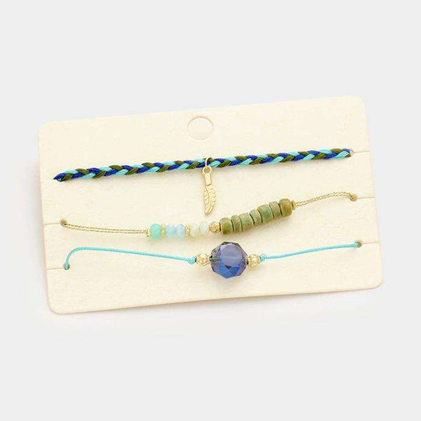 Glass Wood Beads & Braided Thread Bracelet Set
