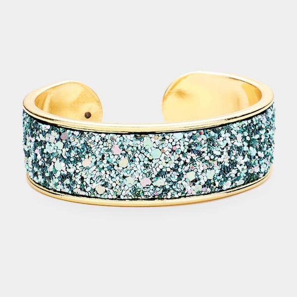 Glittered Tiny Sequin Cluster Cuff Bracelet