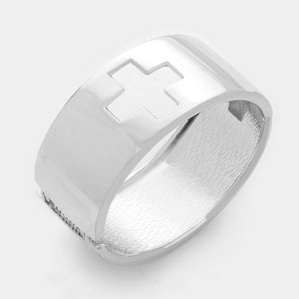 Hinged Metal Square Cross Bracelet