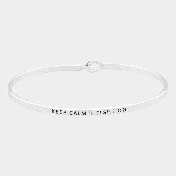 Keep Calm Fight On _ Thin Metal Pink Ribbon Hook Bracelet