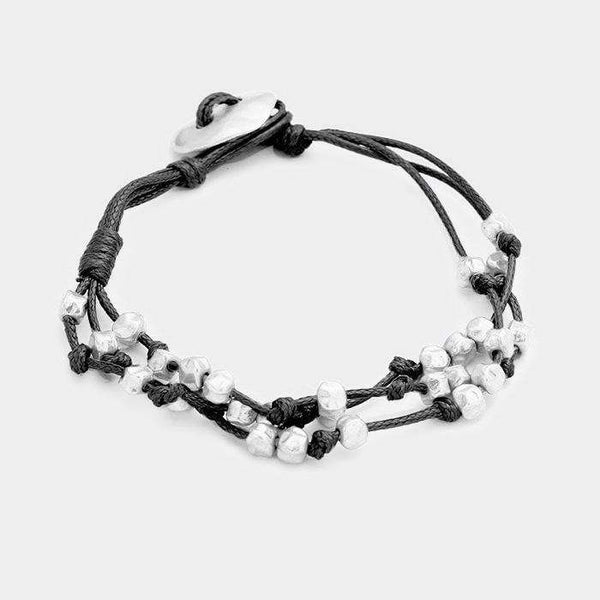Knotted Cord Metal Cube Bead Bracelet