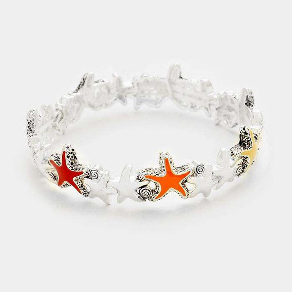 Lacquered Starfish Stretch Bracelet