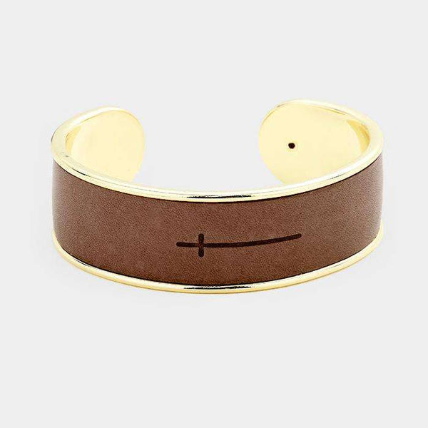 Leather Engraved Cross Cuff Bracelet