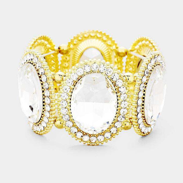 Marquise Oval Crystal Evening Stretch Bracelet