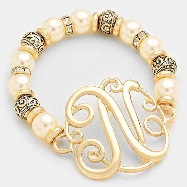 N Pearl & Filigree Metal Beaded Monogram Bracelet