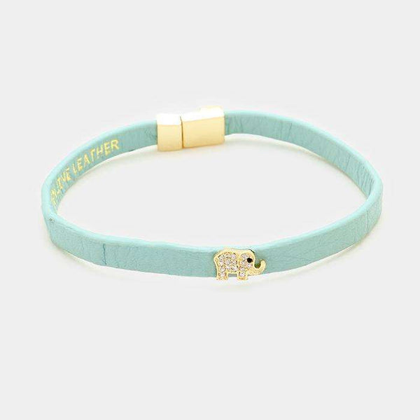 Rhinestone Pave Elephant Leather Bracelet