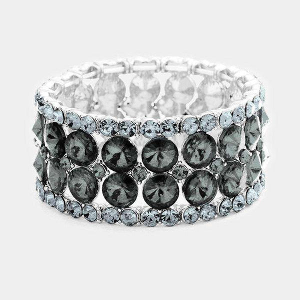 Round Glass Stone Cluster Evening Stretch Bracelet