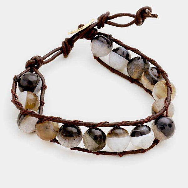Tied Natural Stone Bead Bracelet