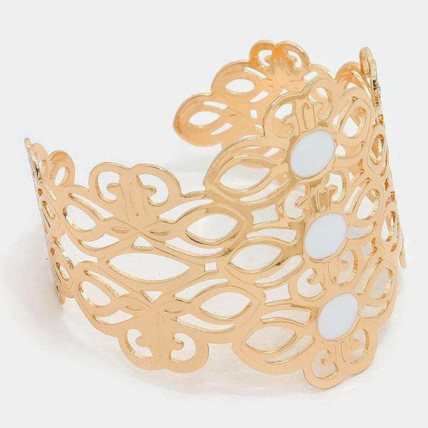Triple Enamel Metal Cut Out Cuff Bracelet