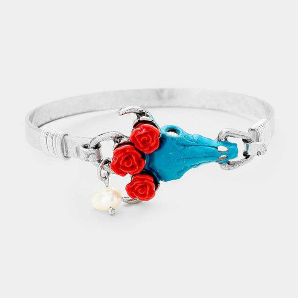 Triple Flower Steer Head Pearl Charm Hook Bracelet